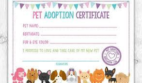 Pet Adoption Certificate Template Animal Adoption Certificate Template Pet Adoption