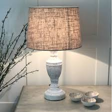Antique White Distressed Table Lamp Linen Shade By Cowshed Interiors