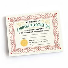 Certificate Recognition Spousal Recognition Award Certificates