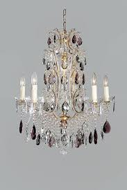 italian antique chandelier with purple colored crystal drops