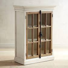 antique white glass doors low cabinet