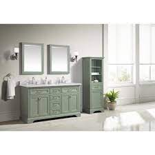 Home Decorators Collection Windlowe 61 In W X 22 In D X 35 In H Bath Vanity In Green With Carrera Marble Vanity Top In White With White Sink 15101 Vs61c Sg The Home Depot