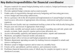 ... 2. Key duties/responsibilities for financial coordinator ...