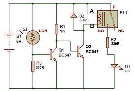 how to use a relay build circuit dark sensor using two transistors and a relay