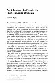 on alienation an essay in the psycholinguistics of science inside