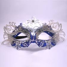 Decorative Masquerade Masks Blue Silver Decorative Metal Venetian Mask Faberge eggs and 1