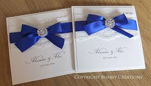 T Royal Blue Wedding Invites Invitations With Lace And Diamante Crystal  Embellishment