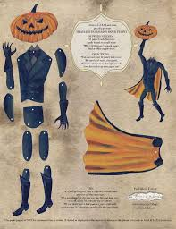 legend of sleepy hollow diy printable pdf paper doll paper puppet set headless horseman for gift giving party decor