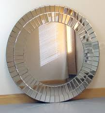 Large Round Modern Art Deco Bevelled Venetian Strips Frame Wall Feature  Mirror 90 x 90cm