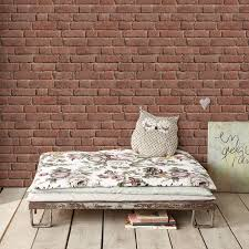 pink old bricks with beige joints wallpaper