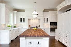 white country kitchen with butcher block. Perfect Country Huge White Kitchen Design With Butcher Block Island Counter Top  Glassfront Cabinets Carrara Marble Tiles Backsplash  And White Country Kitchen With Butcher Block E