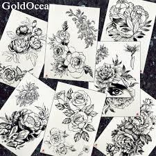 Women Fashion Tattoos Temporary Black Bracelet Flower Arm Art Tattoo Fake Eye Girl Waist Flora Waterproof Tatoos Sketch Cosmetic