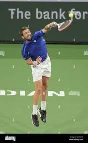 Cameron Norrie (GBR) besiegte Nikoloz Basilashvili (GEO) 3-6, 6-4, 6-1, bei  den BNP Paribas Open, die am 17,2021. Oktober im Indian Wells Tennis Garden  in Indian Wells, Kalifornien, gespielt wird: â©Karla Kinne/Tennisclix/CSM