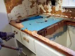 Removing formica blue wood glued on counter tops -demolition remodel