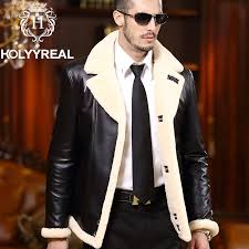 2016 new men s brand genuine sheepskin shearling jacket fashion double faced fur