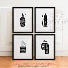 bathroom art set printables wash brush floss flush bathroom decor bathroom wall art printable bathroom bathroom rules brush teeth sign on bathroom wall art set with printable bathroom wall art from the crown prints on etsy lots of