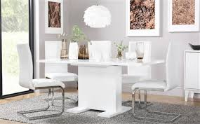 osaka white high gloss extending dining table with 4 perth white chairs