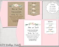 Pocket Wedding Invitation Template Printable Diy Pocket Fold Etsy