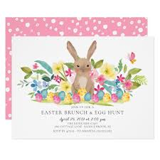 Bunny Easter Brunch Egg Hunt Invitation