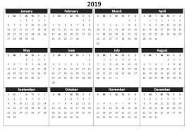 2019 Calendar Printable Template 2019 Calendar Printable Templates Word Excel Wallpapers