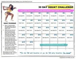 30 Day Squat Challenge Printable Chart 30 Day Squat