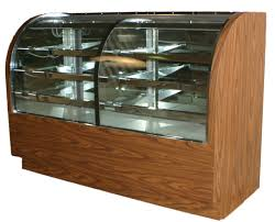 refrigerated and non refrigerated black bakery display with curved front glass