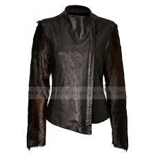 fur sleeve black leather jacket zoom lindsay