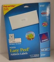 Avery Label 8160 Avery 8160 Easy Peel Mailing Address Labels Inkjet 1 X 2 5 8 White