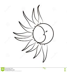 Schizzo Della Luna E Del Sole Su Un Fondo Bianco Tatuaggio