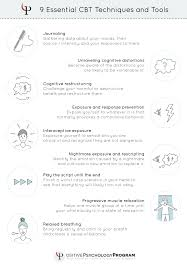 cbt techniques and worksheets for cognitive behavioral therapy 9 essential cbt techniques and tools infographic