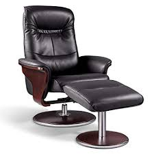 artiva usa milano modern bend wood leather swivel recliner with ottoman