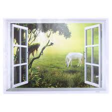 faux window wall decal creative 3d window grassland horse view scenery art wall sticker vinyl decal