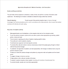 cal receptionist job description free word format