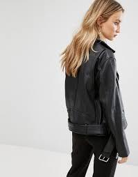 mango mango leather biker jacket women black