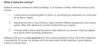 how to write a reflection paper from a