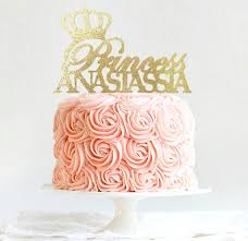 Princess Cake Topper Personalized Tiara Cake Topper Birthday Etsy