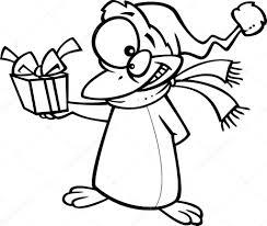Vector Van Een Cartoon Kerstmis Pinguïn Geven Een Cadeau Overzicht