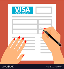 filling out applications woman hands filling out visa application vector image