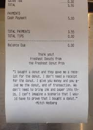 A Receipt This Employee Really Hates Doughnut Receipts And Customised