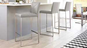 cool grey real leather barstools