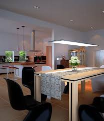Modern dining room lighting Elegant Modern Dining Room Open Plan Kitchen Led Panel Light Fixtures Modern And Efficient Home Lighting Ideas Cozynest Home New And Cozy Home Design Led Panel Light Fixtures Modern And Efficient Home Lighting Ideas