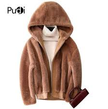 pudi b181114 womens winter warm real wool jacket vest genuine leisure girl coat lady jacket overcoat