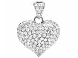 14k white gold puffed real vs diamond heart pendant charm 1 50ct 0 82