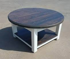 round farmhouse coffee table with dark