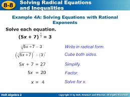 example 4a solving equations with rational exponents
