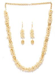 Gold Beautiful Necklace Design Buy Priyaasi Designer Gold Plated Off White And Golden Beads