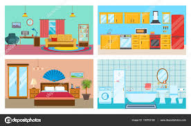 modern interior of rooms living room with interior and decor kitchen with furniture bedroom and stylish bathroom vector ilration