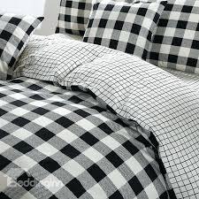 canada buffalo plaid linen black and white plaid print cotton 4 piece bedding sets duvet cover plaid flannel duvet cover