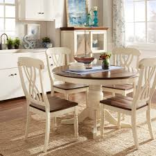 tribecca home mackenzie country style two tone round scroll back dining set
