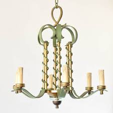 french art deco iron and brass chandelier